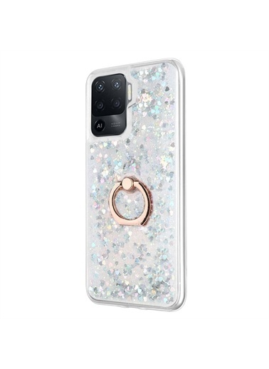 Microsonic Oppo Reno 5 Lite Kılıf Glitter Liquid Holder Gümüş Gümüş